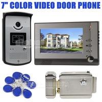 Electric Lock 7 inch Color Video Door Phone Visual Intercom Doorbell Card Key Reader RFID IR Night Vision Camera Wholesale 1 V 1