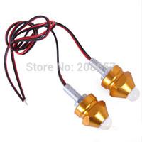 1Pair Gold 12V Moto Bike 7 Color Strobe Flash Bullet LED Lights Decorative Lamp