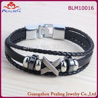 Hot Sale Fashion Black Multilayer Leather Strap Bracelets & Bangles Vintage cross Bracelet For Women Men wholesale