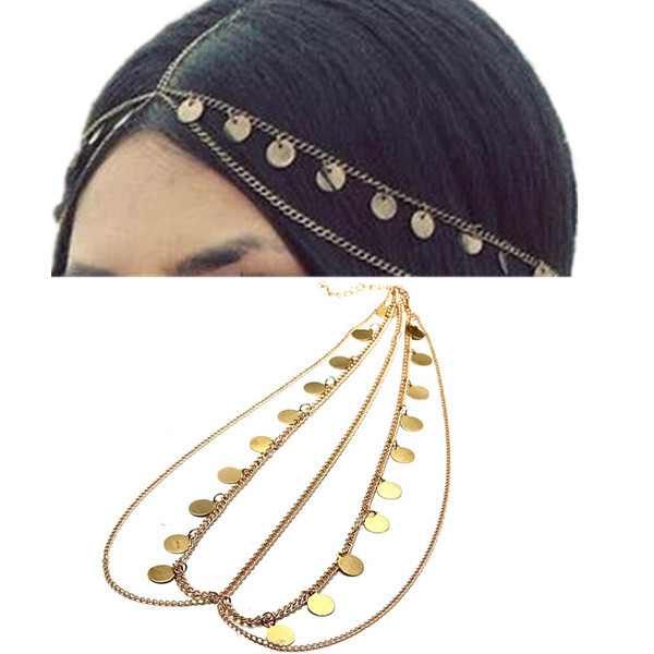 Punk Bohemian Women Metal Head Chain Headband Piece Hair band Fashion Jewelry Accessories Round Glitter Pendant(China (Mainland))