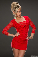 Wholesale foreign trade sexy club party dresses black red lace dress slim dresses women