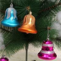 Christmas trees decorations Christmas bell 6 pcs a set 8 cm ball shape pendant bell ornaments plastic material wall clock m362