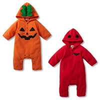 2015 Baby hooded Romper infant one-piece Jumpers Hallowmas embroidery fleece kid clothing wear