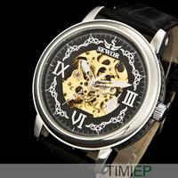 Black Vintage Men's Mechanical Skeleton Hand Wind Watch Men New 2015
