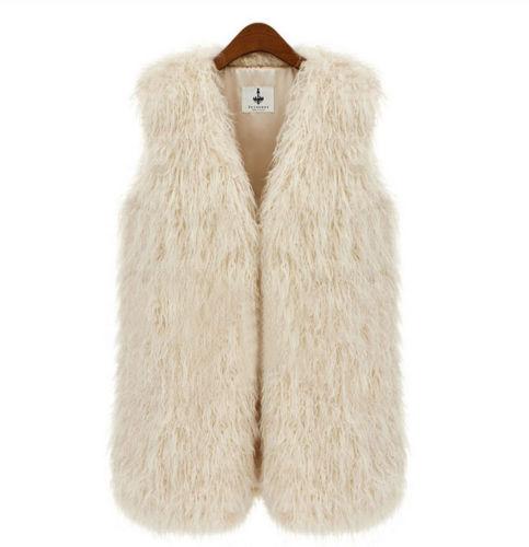Леди искусственный мех жилет без рукавов длинная волос жилет Gilet пальто куртка верхней одежды