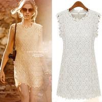 Free Shipping summer 2015 women's slim flower lace casual white dress tropical sleeveless crew neck vestido de renda branco C175