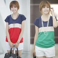 2014 New Women T-shirt Round Collar Short Sleeve T Shirt Chiffon Three Color Stitching Loose Snow Spins Unlined Women T-shirt
