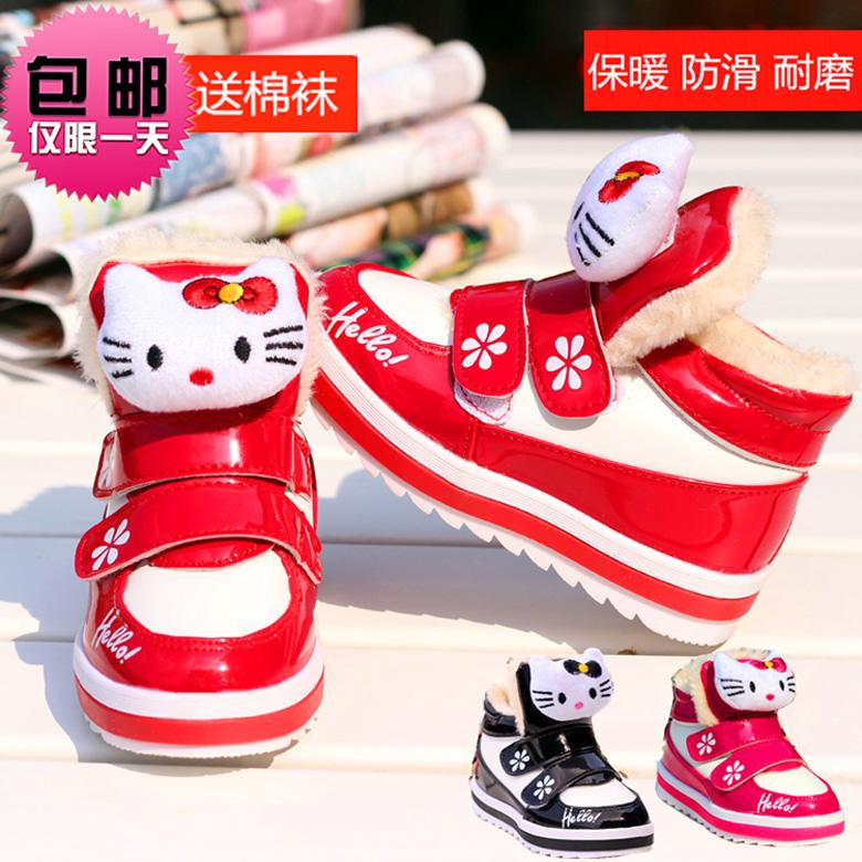 2014 sapatos inverno meninas botas de neve menina botas térmicas tornozelo pelúcia kt kitty cat esportes sapatas dos miúdos da criança botas à prova d ' água(China (Mainland))