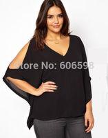 2014 Sexy Women V Neck Plus Size Batwing Sleeve Blouse Chiffon T Shirt Tops US Seller