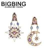 BigBing  jewelry fashion crystal moon star sun purple earrings earrings dangle earring good quality  nickel free Q673