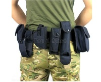 Tactical Belt with Molle Pouch System Guard Utility Kit Pockets Bag Black Security duty belt