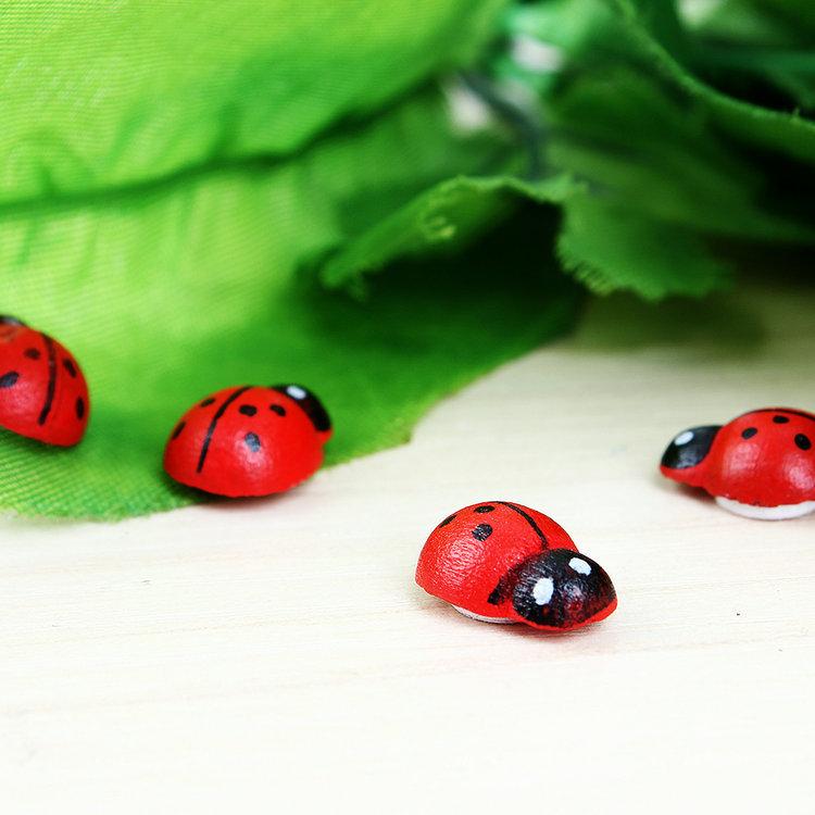 100pcs/lot,13x10mm Easter decoration Wooden ladybug stickers,Sponge stickers Home Decoration,Kids toys(China (Mainland))