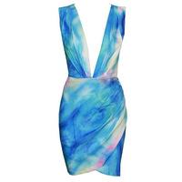 summer women fashion deep V neck sleeveless backless print  bandage dress sexy bodycon party dresses plus size S -xl
