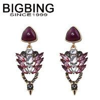 BigBing  jewelry fashion purple crystal earrings earrings dangle earring good quality  nickel free Q690