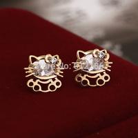 Cartoon Cute Earbob Beautiful Hello Kitty Alloy Golden Earring  Girls Jewelry South Koera Style