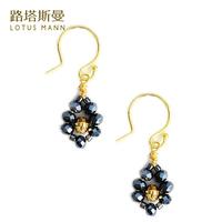 Lotus Mann Black bile color crystal silver plated French ear hook earrings
