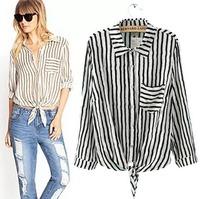 2015 European Style Women Shirt Striped Chiffon Lacing Pocket Long Sleeve Spring Autumn Famous Brand Tops Blouse CL2306