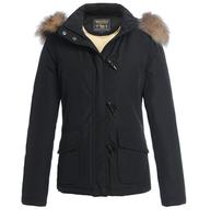 Woolrich horn button slim large fur collar Women design short down coat 2605