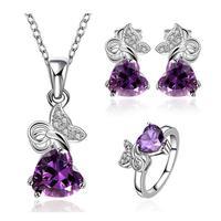 Free shipping! 2015 new romantic heart shape jewelry set, Charm girls crystal jewelry sets