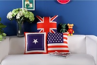 Free shipping 18''X18'' The American Village American British flag cotton and linen sofa office cushion pillow cover