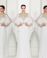 Arabic Dubai ABAYA KAFTAN white 2014 Zuhair Murad Muslim Dress Poet Long Sleeve With Beaded Chiffon Evening Dresses ZY1156
