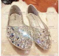 Fashion designer rhinestone crystal diamond red soleflat shoes bridal wedding shoes 2014 women pointed silver pump 10cm heel
