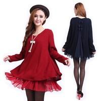 New Fashion Spring Autumn Fat Women One Piece Dress Plus Size Loose Fat Dresses Female