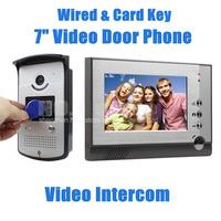 7 inch TFT Color LCD Display Video Door Phone Visual Intercom Doorbell Card Key Reader RFID IR Night Vision Camera Wholesale