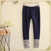 Women's brief elastic waist knitted patchwork plus velvet legging Pants