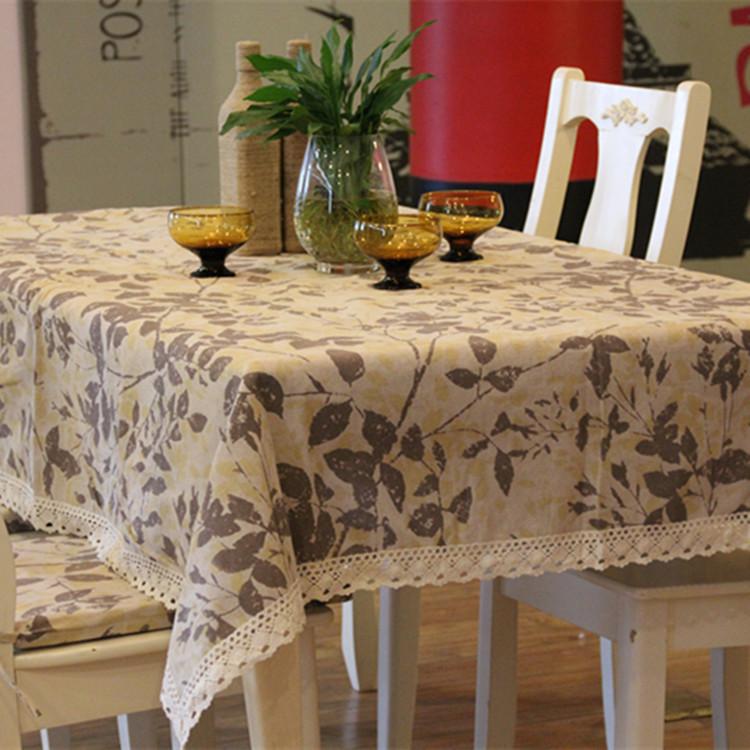 NEW arrival Wholesale IKEA Autumn leaves pattern lace cotton linen Kitchen table cloth/home decoration/140cm*220cm/Tablecloth(China (Mainland))