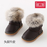 2014 new winter snow boots full leather Wenzhou baby boys and girls 0-3 years old cotton-padded leather boots