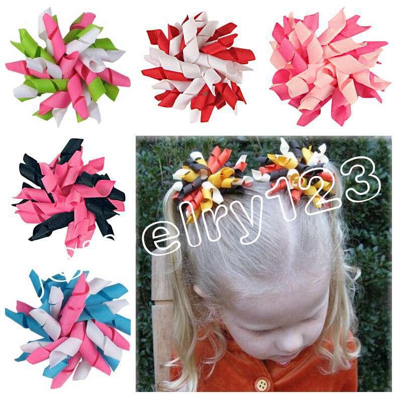 "baby flower hair bows 600 pcs 3.5"" Korker Hair bow, hairs clips, grosgrain ribbon bows Corker satin hairband flowers PD007(China (Mainland))"