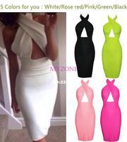 2014 hot selling  new dress Shoulder leakage hang back neck pure color bandage dress women dress vestido de festa free shipping