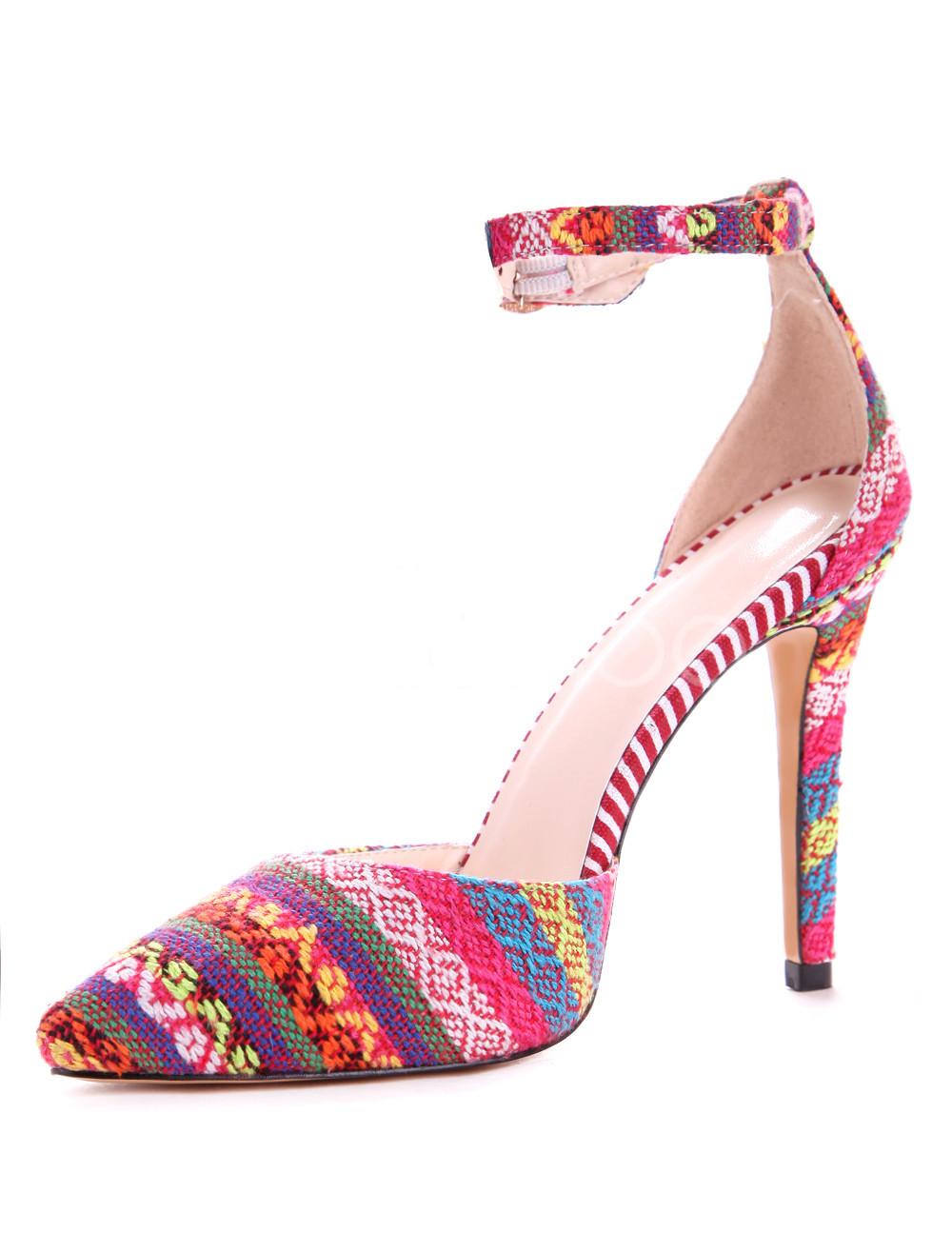 Color Block Ankle Strap Heels