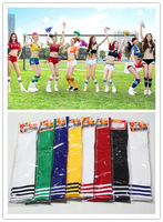 Aliexpress Wholesale Pure Color High Stripe Knee Socks Soccer Baseball Football Basketball Sexy Sport Knee Socks Stockings