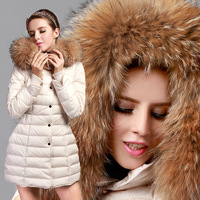 2014 New Fashion winter Jacket women Big Raccoon Fur Collar Hooded Single Breasted thicken Medium Long Down Coat women Overcoat