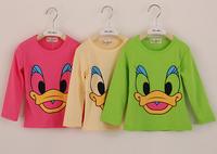 2015 Spring Children T shirt Cotton Cartoon Printing Long Sleeve Girls Boys T-shirts Tops Yellow Fluorescent Green Rose 6135407