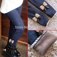 2014 Hotselling kids girls Leggings Bowknot Jeans Children cashmere pants elastic waist fleece Legging