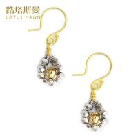 Lotus Mann Silver crystal silver plated French ear hook earrings