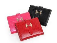 Leather women wallets 2014 Patent genuine leather 3-folf wallet Female leather Short design wallets Fashion stone pattern Purses