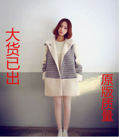 1030 2014 small houndstooth woolen outerwear female medium-long berber fleece wool coat