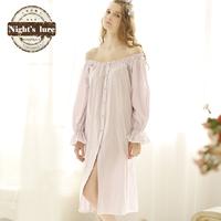 Summer new arrival 100% cotton princess vintage sweet full dress buckle slit neckline sleepwear lounge