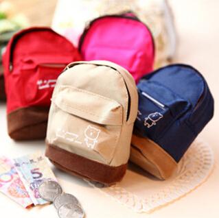 New Sale kawaii fabric canvas mini backpack women girls kids cheap coin pouch change purses clutch bags wholesale(China (Mainland))