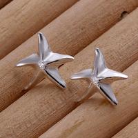 Fast/Free Shipping 925 Sterling Silver Jewelry Fashion Starfish Stud Earrings Women Gift Trendy Brincos Earring E33