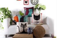 Free shipping 18''X18'' Creative cartoon cat friends cotton and linen sofa office cushion pillow cover