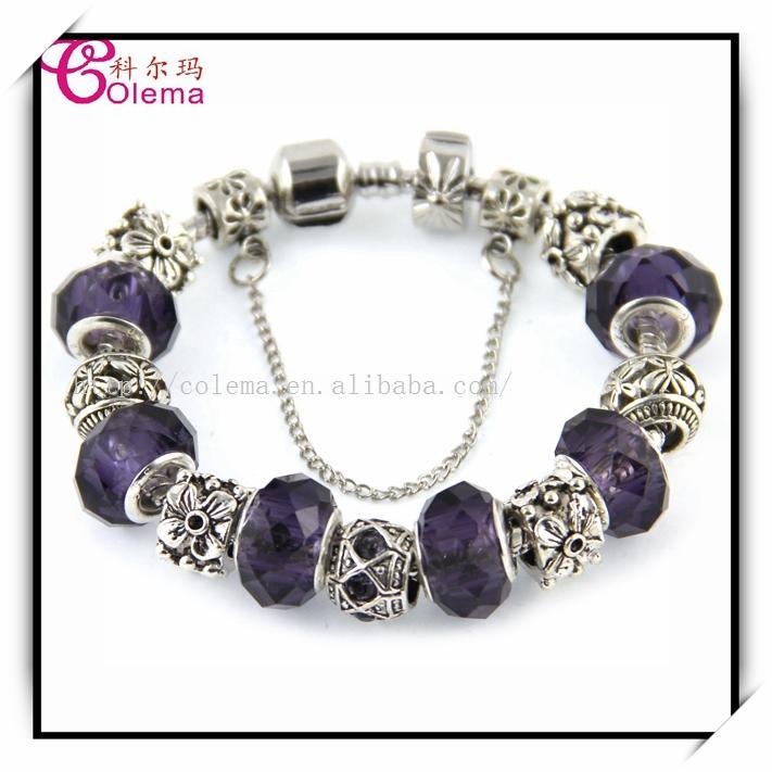 Valentines Gift Fashion Noble Purple Glass Beaded Bracelets For Women Fits Pandora Style Cuff Bracelets Jewelry
