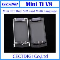 2015 New arrival Dual SIM card Luxury phone mini Ti V8 MTK6572 smart phone Android 4.3 VIP luxury phone Multilanguage  Free ship