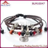 Fashion Alloy coin Pendant Beads Multilayer Leather Strap Bracelets & Bangles Women Adjustable Accessories Bracelet Wholesale
