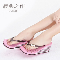 New summer shoes muffin sandals female slope with Korean bow heavy-bottomed female beach sandals and slippers free shipping