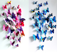 Free Shipping !24pcs/Lot Beautiful Magnetic Artificial Butterflies Wall Sticker For Festival Wedding Decor